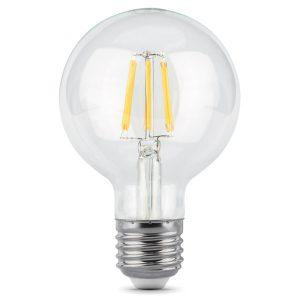 Лампа светодиодная G95 E27 6вт 2700К Filament шар (Gauss Globe-G95-6-230-2.7K-E27 105802106)