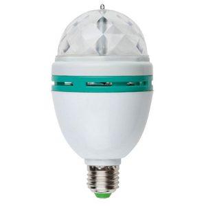 Светодиодный многоцветный светильник-проектор Е27 (Uniel Volpe-Disco-ULI-Q301-3-RGB-E27-White 09839)