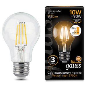 Лампа светодиодная A60 E27 10вт 2700К Step Dimmable Filament (Gauss A60-10-220-2.7K-E27 102802110-S)