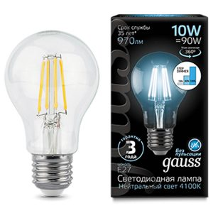 Лампа светодиодная A60 E27 10вт 4100К Step Dimmable Filament (Gauss А60-10-220-4.1K-E27 102802210-S)