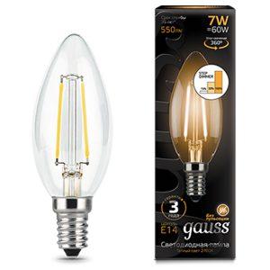Лампа светодиодная E14 7вт 2700К Step Dimmable Filament свеча (Gauss Candle-7-220-2.7K-E14 103801107-S)