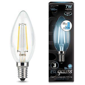 Лампа светодиодная E14 7вт 4100К Step Dimmable Filament свеча (Gauss Candle-7-220-4.1K-E14 103801207-S)