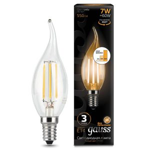 Лампа светодиодная E14 7вт 2700К Step Dimmable Filament свеча на ветру (Gauss Candle-Tailed-7-220-2.7K-E14 104801107-S)