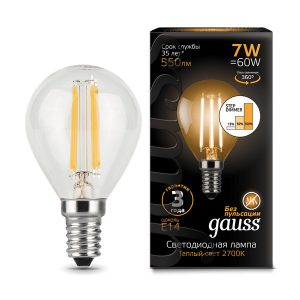 Лампа светодиодная E14 7вт 2700К Step Dimmable Filament шар (Gauss Globe-7-220-2.7K-E14 105801107-S)