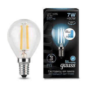 Лампа светодиодная E14 7вт 4100К Step Dimmable Filament шар (Gauss Globe-7-220-4.1K-E14 105801207-S)