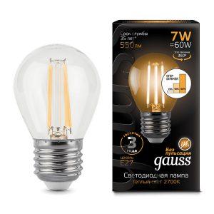 Лампа светодиодная E27 7вт 2700К Step Dimmable Filament шар (Gauss Globe-7-220-2.7K-E27 105802107-S)