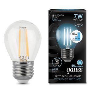 Лампа светодиодная E27 7вт 4100К Step Dimmable Filament шар (Gauss Globe-7-220-4.1K-E27 105802207-S)