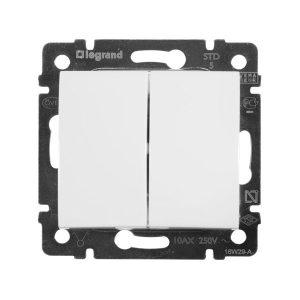 Механический двухклавишный выключатель, белый (Legrand Valena-250V-10A 774405)